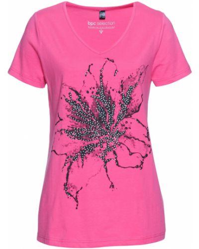 Розовая футболка с рисунком с вырезом Bonprix