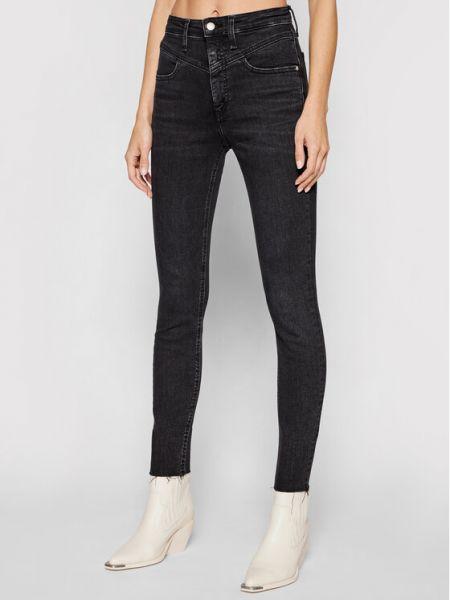 Czarne jeansy rurki z wysokim stanem Calvin Klein Jeans