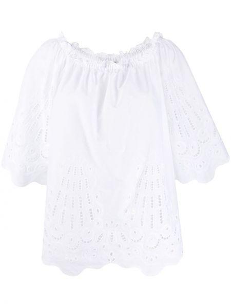 Bluzka z krótkim rękawem biała z haftem Alberta Ferretti