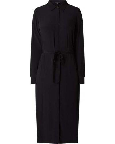 Czarna sukienka z wiskozy zapinane na guziki Esprit Collection