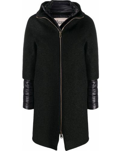 Шерстяное черное длинное пальто с воротником Herno