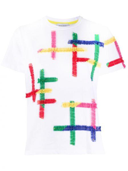 Белая прямая футболка с оборками с круглым вырезом Mira Mikati