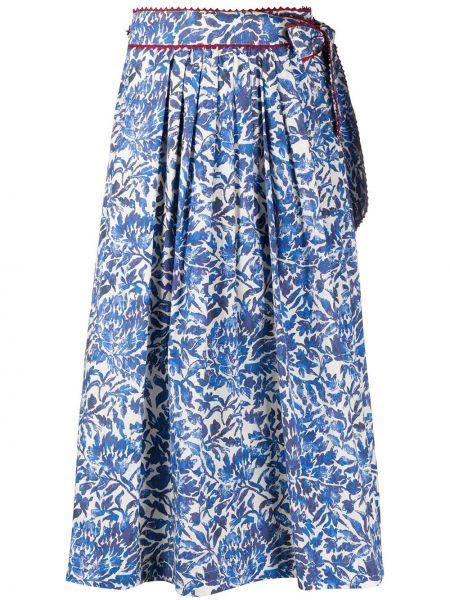 Хлопковая синяя пышная юбка Weekend Max Mara