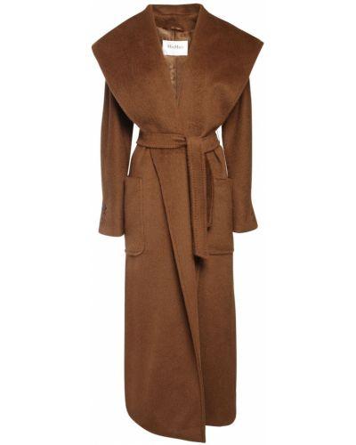 Шерстяное пальто с капюшоном на пуговицах Max Mara