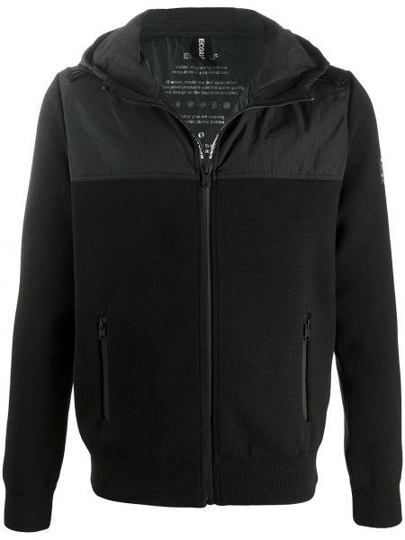 С рукавами классическая черная куртка с капюшоном на молнии Ecoalf