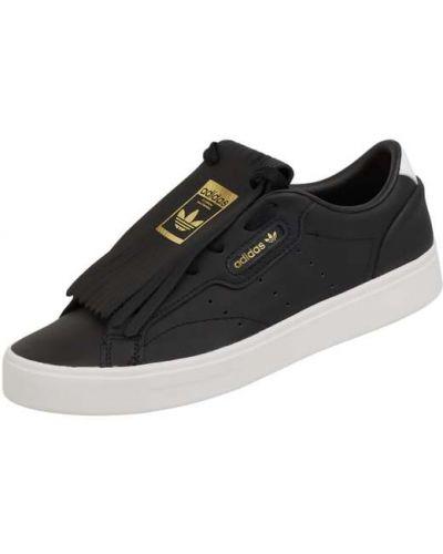 Czarne sneakersy skorzane z frędzlami Adidas Originals