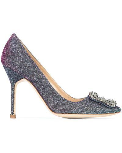 Туфли на высоком каблуке кожаные с камнями Manolo Blahnik