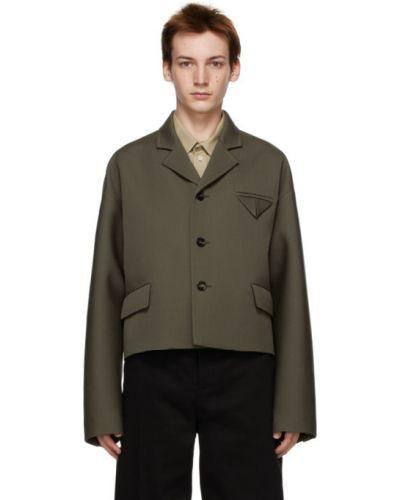 Черная длинная куртка для полных с воротником Bottega Veneta