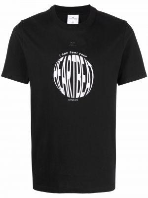 Czarna T-shirt z nadrukiem z printem Courreges