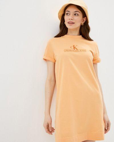 Джинсовое платье - оранжевое Calvin Klein Jeans