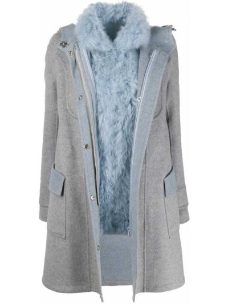 Синее шерстяное пальто с капюшоном на кнопках с воротником Cara Mila