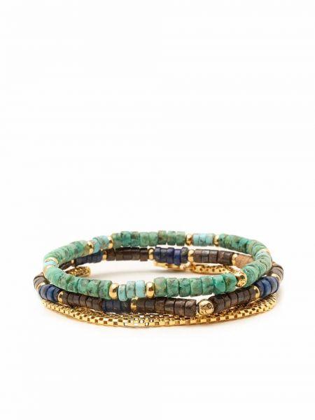 Bransoletka łańcuch srebrna - turkusowa Nialaya Jewelry