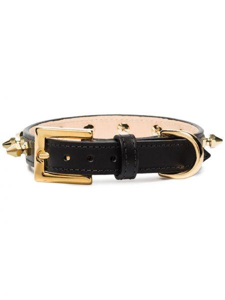 Кожаный черный ремень с воротником Black & Brown
