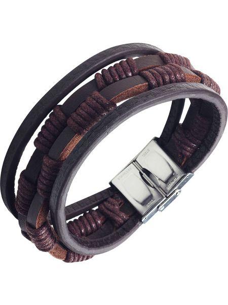Кожаный коричневый браслет с декоративной отделкой Anton Smith