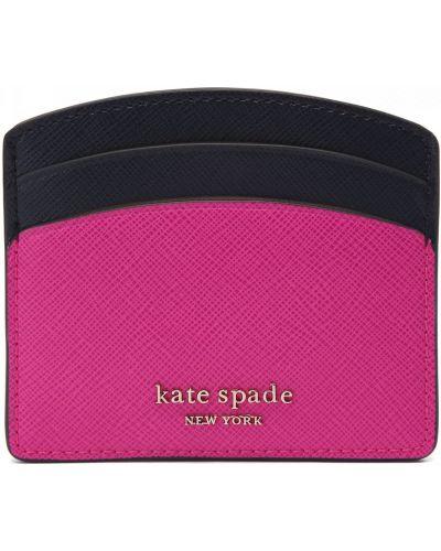 Розовая кожаная визитница Kate Spade