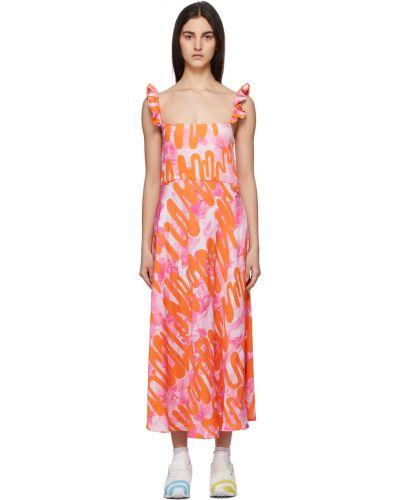 Satynowa sukienka - różowa Collina Strada