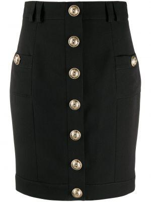 Прямая с завышенной талией юбка мини на молнии с карманами Balmain