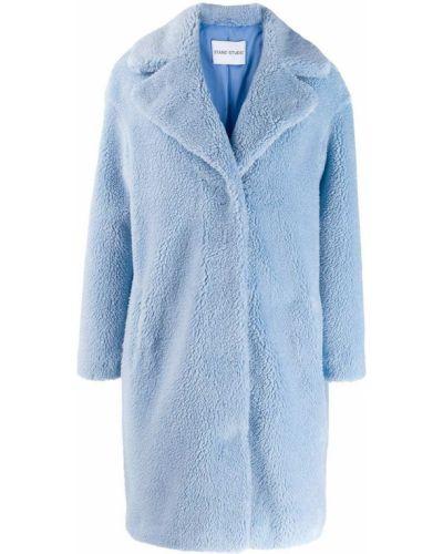 Синее длинное пальто Stand