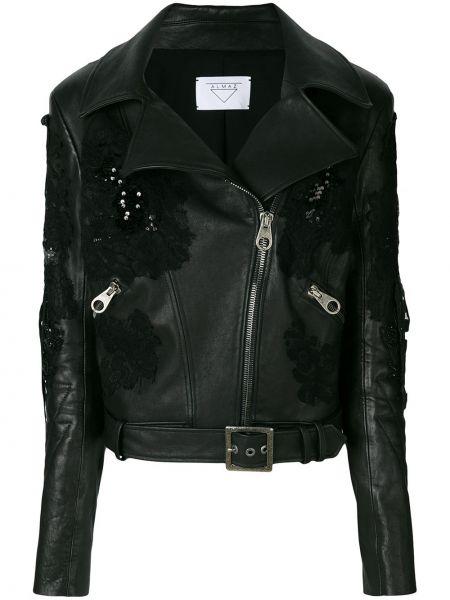 Черная кожаная куртка байкерская Almaz