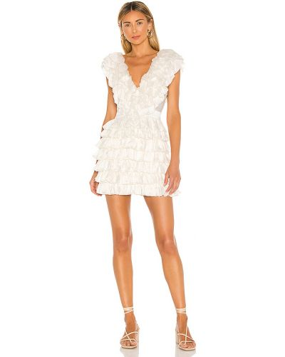 Biały włókienniczy sukienka mini prążkowany z zamkiem błyskawicznym Majorelle