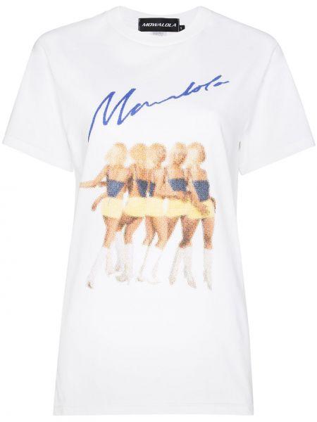 Biały t-shirt bawełniany z printem Mowalola
