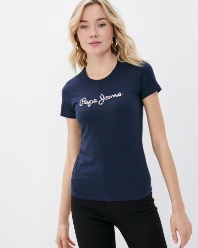Синяя с рукавами футболка Pepe Jeans