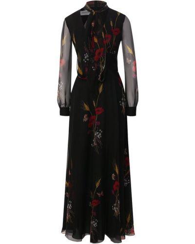 Платье макси с V-образным вырезом шифоновое Valentino