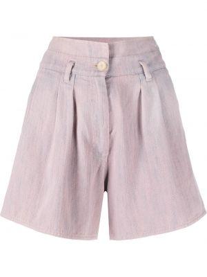 Розовые хлопковые с завышенной талией шорты Forte Forte