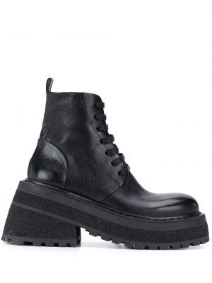 Czarne ankle boots skorzane koronkowe Marsell