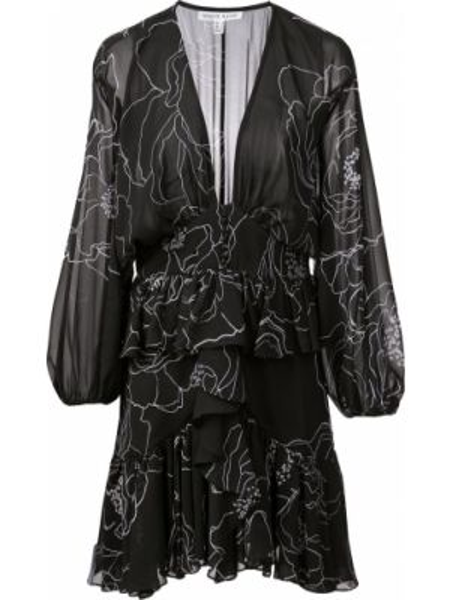 Черное приталенное платье мини на пуговицах с V-образным вырезом Shona Joy