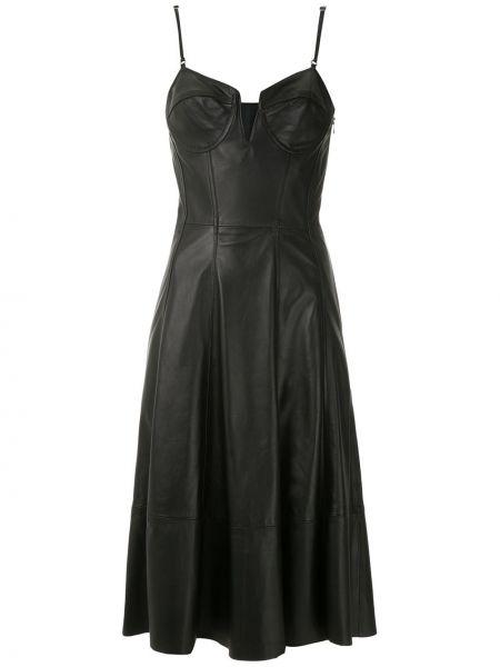 Кожаное приталенное платье на бретелях на молнии Tufi Duek