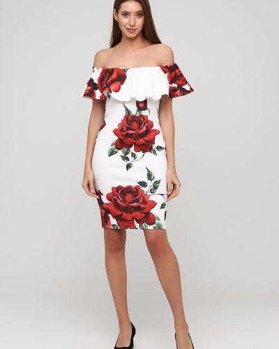 Белое вечернее платье с открытыми плечами без рукавов City Goddess