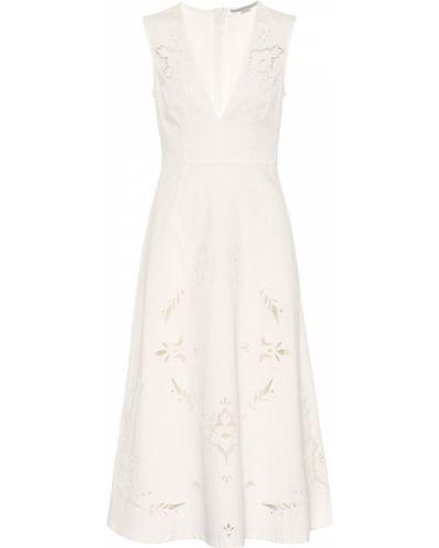 Деловое ажурное платье миди с вышивкой с вырезом Stella Mccartney