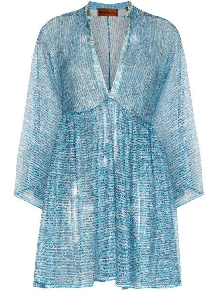 Расклешенное синее платье мини с вышивкой с V-образным вырезом Missoni Mare