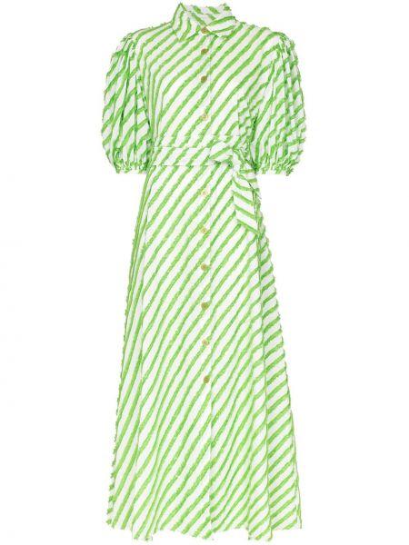 Zielona sukienka długa w paski bawełniana Evi Grintela