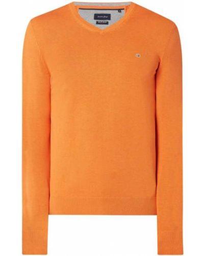 Prążkowany pomarańczowy sweter bawełniany Christian Berg Men