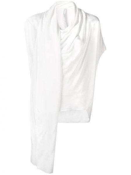 Белый шелковый асимметричный топ с драпировкой Poiret