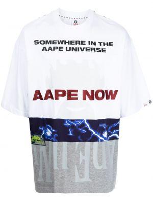 Biała t-shirt bawełniana Aape By A Bathing Ape