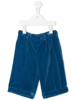 Синие велюровые шорты с оборками на пуговицах Siola