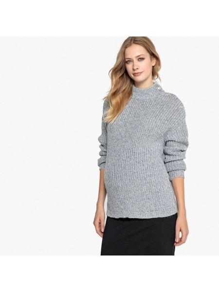 Пуловер с воротником-стойкой на пуговицах La Redoute Maternité
