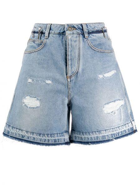 Джинсовые шорты с завышенной талией синий Ermanno Scervino