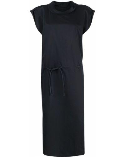 Czarna sukienka midi z wiskozy krótki rękaw Lemaire