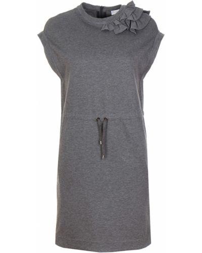 С рукавами платье мини с поясом с вырезом Brunello Cucinelli