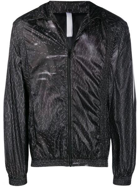 Czarna długa kurtka z długimi rękawami z printem Cottweiler