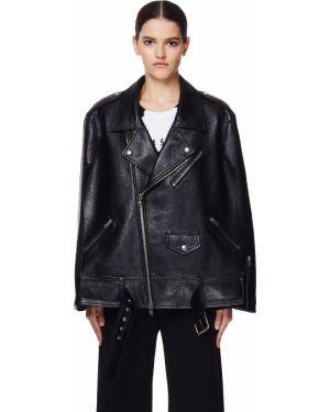 Кожаная куртка байкерская с поясом оверсайз из вискозы Maison Margiela