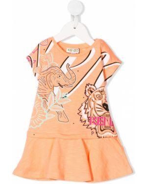 Pomarańczowa sukienka mini rozkloszowana krótki rękaw Kenzo Kids