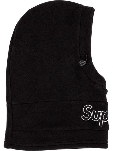 Ciepła czarna kominiarka z haftem Supreme