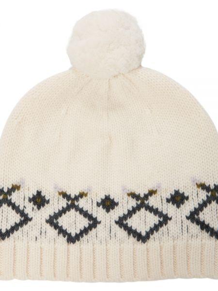 Белая шерстяная шапка бини Bonpoint