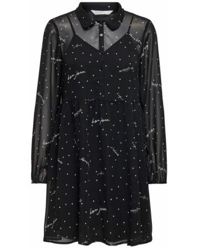 Czarna sukienka midi elegancka z długimi rękawami Only