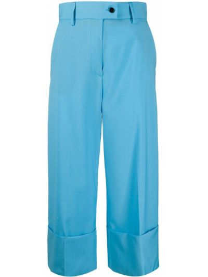 Niebieski wełniany spodnie culotte z kieszeniami z mankietami Msgm
